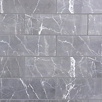 Elegance Grey Gloss Marble effect Ceramic Wall Tile, Pack of 7, (L)600mm (W)200mm