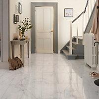Elegance White Gloss Marble effect Ceramic Floor tile, Pack of 7, (L)600mm (W)300mm