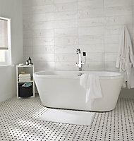 Elegance White Gloss Marble effect Ceramic Wall tile, Pack of 7, (L)600mm (W)200mm