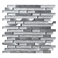 Elysee ice Linear Glass & metal Mosaic tile, (L)298mm (W)328mm
