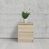 Esla High gloss oak oak effect 2 Drawer Bedside chest (H)500mm (W)400mm (D)500mm