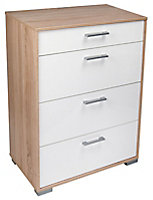 Evie Matt & high gloss white oak effect 4 Drawer Chest (H)910mm (W)702mm (D)395mm