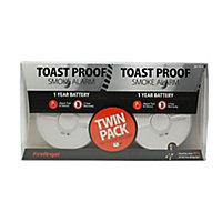 FireAngel Toast Proof SB1-TP-R Smoke Alarm, Pack of 2