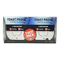 FireAngel Toast Proof TST-625R Smoke Alarm with 5-year sealed battery, Pack of 2