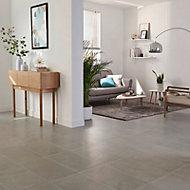 Floated Light grey Satin Concrete effect Porcelain Floor Tile Sample