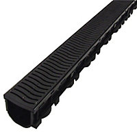 FloPlast ABS & polypropylene Channel drainage & grate, (L)1m (W)118mm