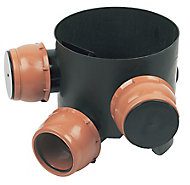 FloPlast Black Underground drainage Mini Inspection chamber, (Dia)300mm
