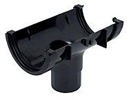 FloPlast Miniflo Black Half round Running Gutter outlet, (L)150mm (Dia)76mm