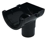FloPlast Miniflo Black Half round Stop end Gutter outlet, (L)150mm (Dia)76mm