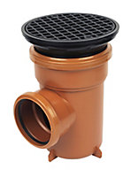 FloPlast Underground drainage Bottle gully with Circular grid, (Dia)110mm