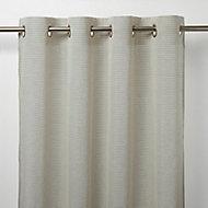 Fola Grey Horizontal stripe Unlined Eyelet Voile curtain (W)140cm (L)260cm, Single