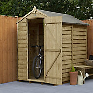Forest Garden 6x4 Apex Pressure treated Overlap Wooden Shed with floor (Base included) - Assembly service included