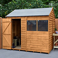 Forest Garden 8x6 Reverse apex Dip treated Overlap Wooden Shed with floor