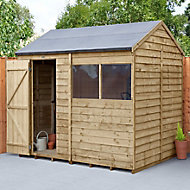 Forest Garden 8x6 Reverse apex Pressure treated Overlap Wooden Shed with floor (Base included) - Assembly service included