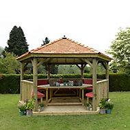 Forest Garden Furnished Cedar Roof Hexagonal Gazebo (W)4900mm (D)4240mm (Red Cushion included)