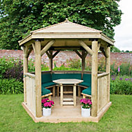 Forest Garden Furnished Hexagonal Gazebo, (W)3.3m (D)2.84m with Floor included - Assembly not required