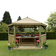 Forest Garden Furnished Timber Roof Hexagonal Gazebo (W)4260mm (D)3690mm (Red Cushion included)