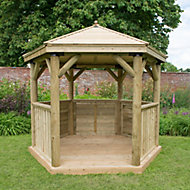 Forest Garden Hexagonal Gazebo, (W)3.3m (D)2.84m with Floor included - Assembly not required