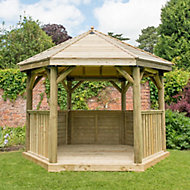 Forest Garden Hexagonal Gazebo, (W)3.78m (D)3.27m with Floor included - Assembly not required