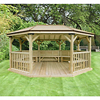 Forest Garden Premium furnished Octagonal Gazebo, (W)5.27m (D)3.78m with Floor included - Assembly not required