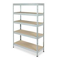 Form Exa 5 shelf Medium-density fibreboard (MDF) & steel Shelving unit (H)1800mm (W)1200mm