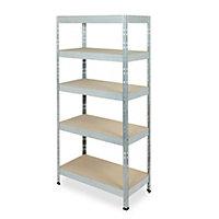 Form Exa 5 shelf Medium-density fibreboard (MDF) & steel Shelving unit (H)1800mm (W)900mm