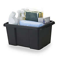 Form Fitty Black 14L Plastic Stackable Storage box