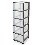 Form Kontor Clear & grey 26L 5 drawer Non-stackable Plastic Tower unit