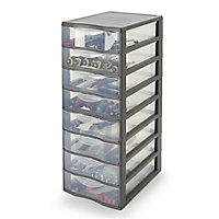 Form Kontor Clear & grey 33L 8 drawer Stackable Tower unit