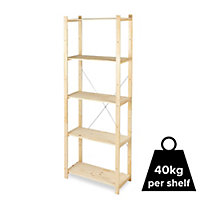Form Symbios 5 shelf Wood Shelving unit (H)1700mm (W)650mm