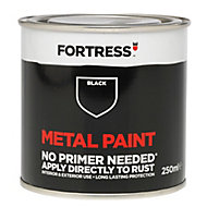 Fortress Black Gloss Metal paint, 0.25L