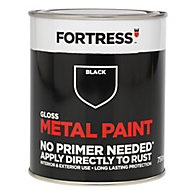 Fortress Black Gloss Metal paint, 0.75L