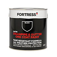 Fortress Black Satin Drainpipe & gutter paint, 2500ml