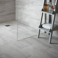 Fossilised wood Pebble Matt Stone effect Ceramic Wall & floor tile, (L)97mm (W)97mm, Sample