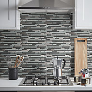 Foxe Grey muretto Glass effect Mosaic tile sheet, (L)300mm (W)300mm