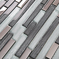 Foxe Grey muretto Glass & stainless steel Mosaic tile sheets, (L)300mm (W)300mm