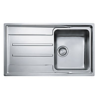 Franke Aton Polished Stainless steel 1 Bowl Sink & drainer