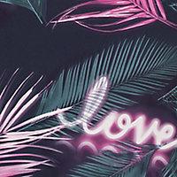 Fresco Green, navy & pink Neon love Smooth Wallpaper
