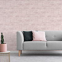 Fresco Pink Brick Distressed effect Smooth Wallpaper