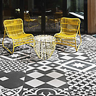 Gatsby Black & white Matt Patterned Porcelain Outdoor Floor tile, (L)604mm (W)604mm