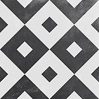 Gatsby Black & white Matt Patterned Porcelain Outdoor Tile, (L)604mm (W)604mm