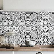 Geo Black & white Moroccan Glass Mosaic tile sheet, (L)320mm (W)320mm