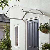 Geom Ramla Clear Glazed Aluminium & polycarbonate Arch Porch canopy, (W)1.4m (D)0.9m