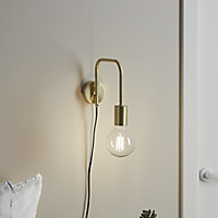 Ghlin Gold effect Plug-in Wall light