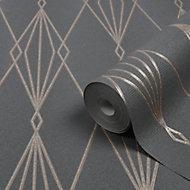 GoodHome Ajuga Charcoal Art deco Rose gold effect Textured Wallpaper