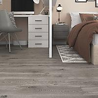 GoodHome Bossa Nova Grey Wood effect Luxury vinyl flooring tile, 0.97m² Pack of 7