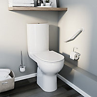 GoodHome Cavally Close-coupled Rimless Comfort height Toilet set with Soft close seat