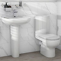 GoodHome Cavally Close-coupled Toilet & full pedestal basin