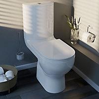 GoodHome Cavally White Close-coupled Toilet & full pedestal basin