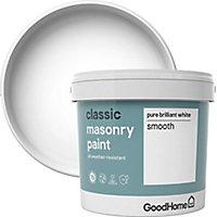 GoodHome Classic Pure brilliant white Matt Masonry paint, 5L